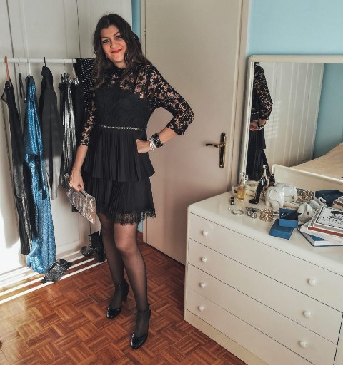festive outfit idea with lace dress