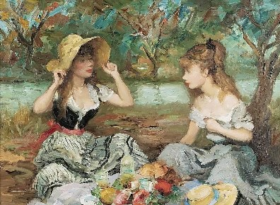 two sisters on a picnic, artwork by marcel dyf