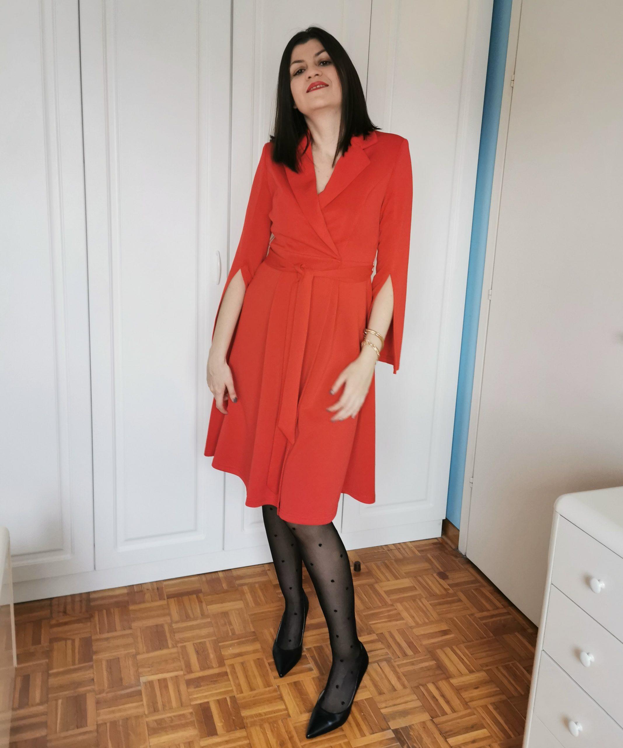 timeless wardrobe pieces / shein red blazer dress