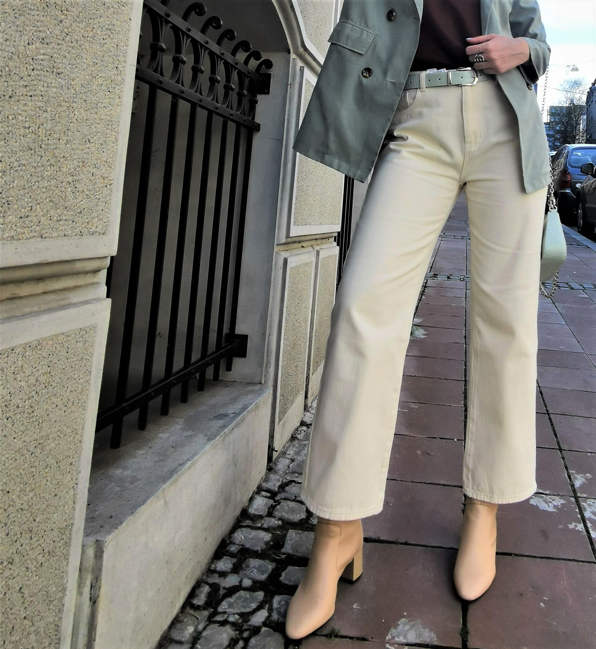 Cream Wide Leg Jeans