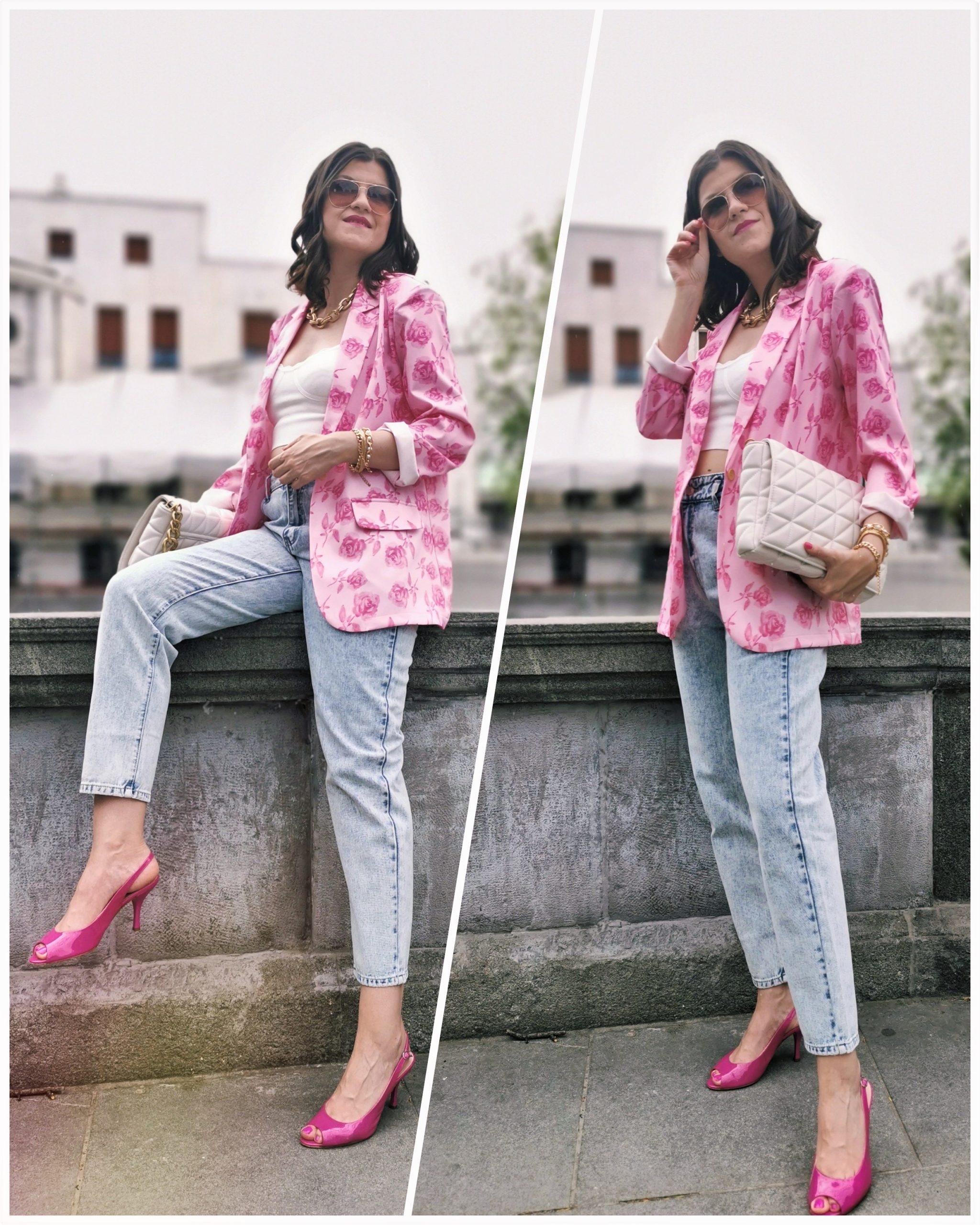 Rose Print Blazer
