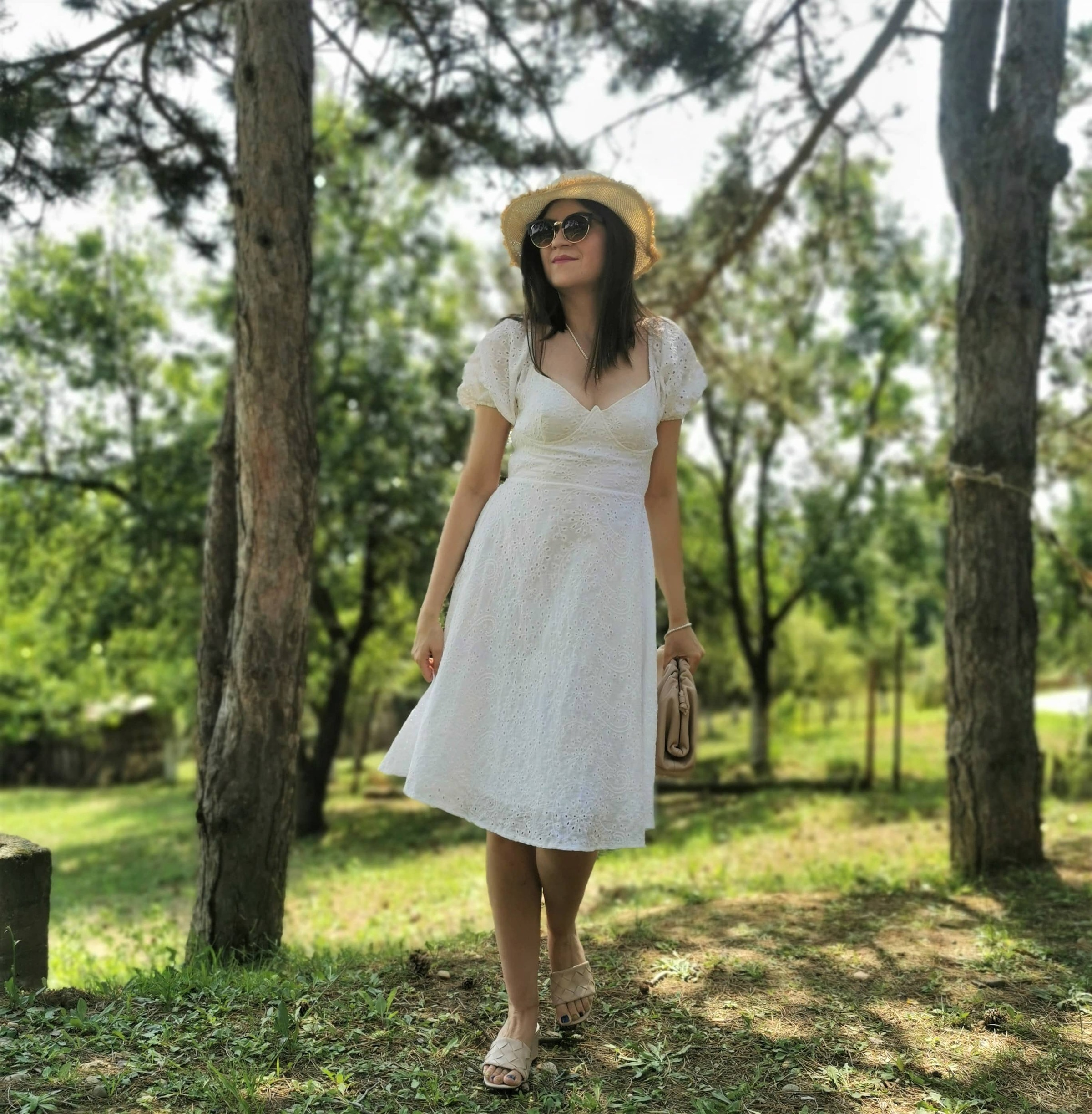 fave summer items: white dress, hat. mules...