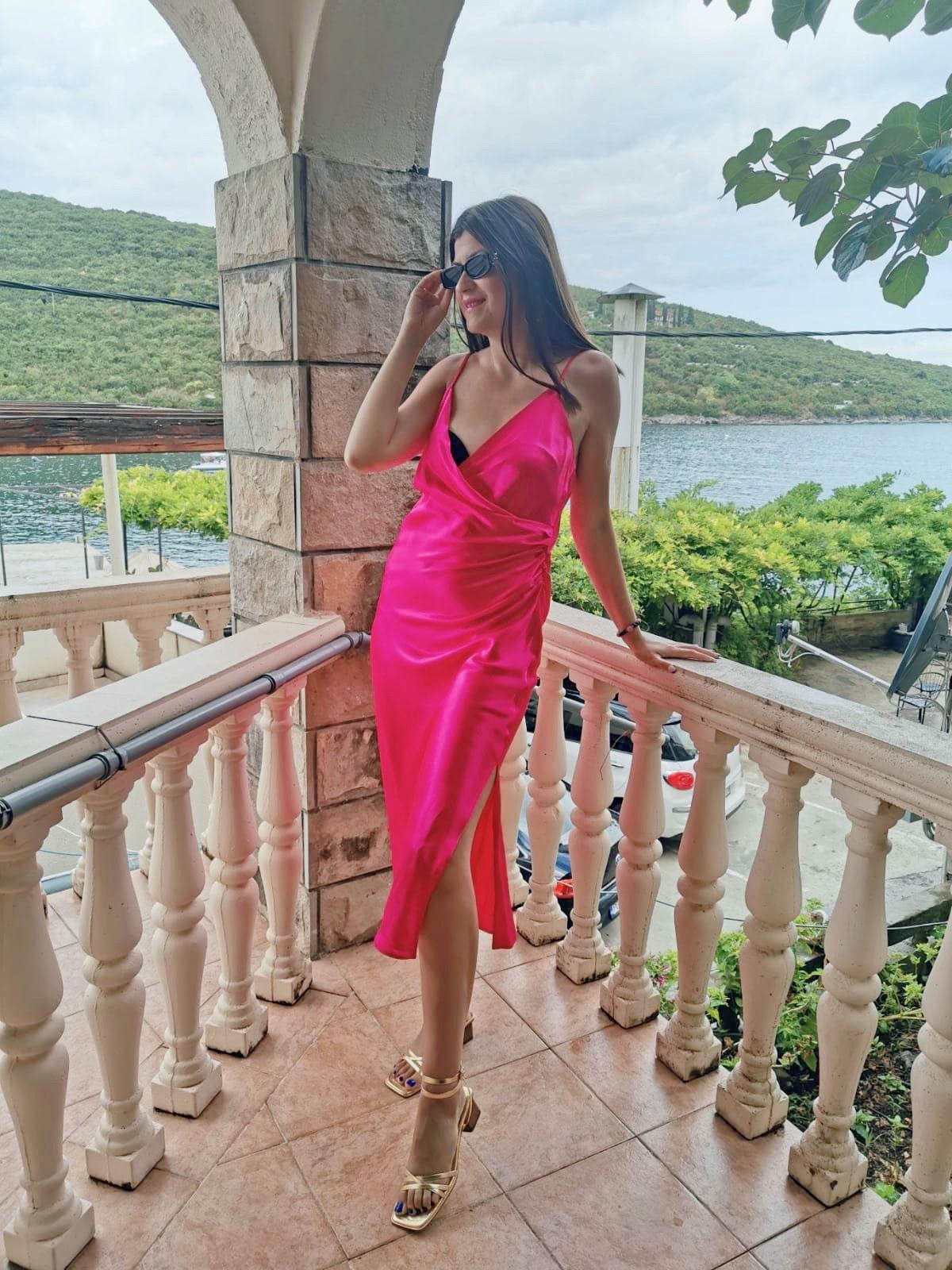 pink satin zara dress